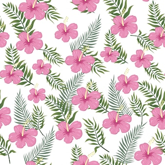 Aloha summer floral seamless pattern on tropical vibes