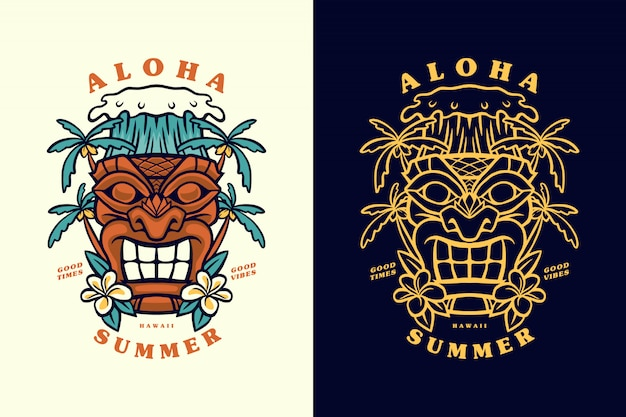 Aloha summer hawaii tiki mask illustration