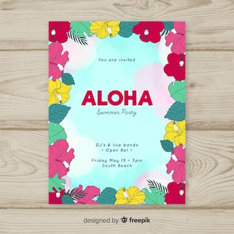 Aloha summer party flyer