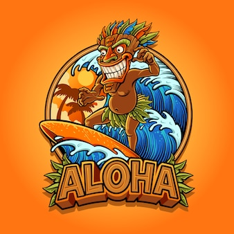 Aloha tiki surfing illustration