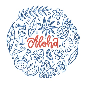 Aloha tropical paradise banner template with lettering word in round shape of tropical elements hawaiian vacation