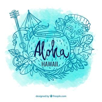 Aloha acqua acquerello sfondo con schizzi di elementi hawaiani