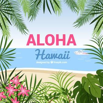 Aloha con sfondo natura tropicale