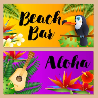 Пляжный бар, набор надписей aloha, тукан и укулеле