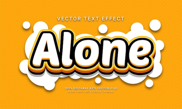 Alone 3d editable text style effect with minimalist concept