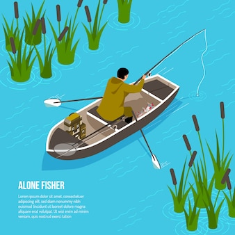 Alone fisher with spinning rod in boat on blue water  with reeds  isometric