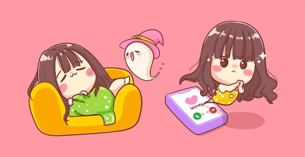 ソファの背景で寝て、かわいいキャラクターデザインで電話を待っている一人の女の子。