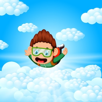Alone skydiver is in the free fall