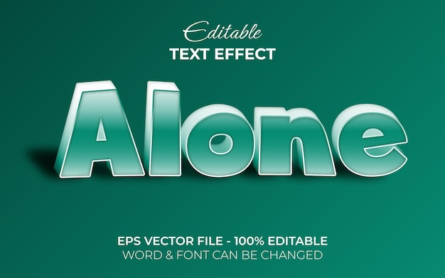 Alone text effect 3d green style editable text effect