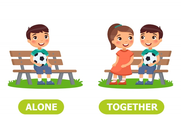 Alone and together illustration