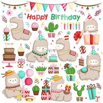 Alpaca birthday vector set