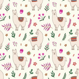 Alpaca, cactus and floral seamless pattern.