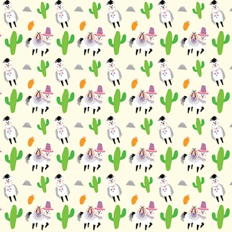 Alpaca and cactus vector seamless pattern