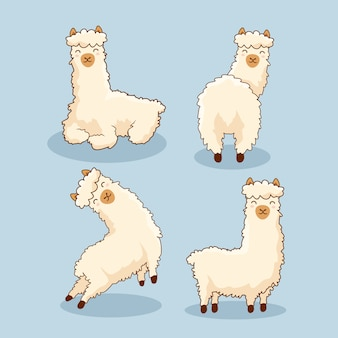 Alpaca cartoon llama set