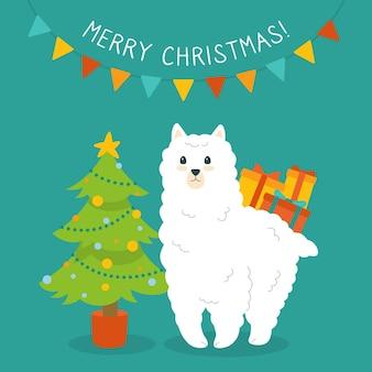Alpaca and christmas tree