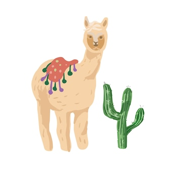 手描きのアルパカ色のイラスト