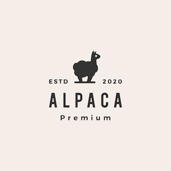 Alpaca hipster vintage logo icon illustration