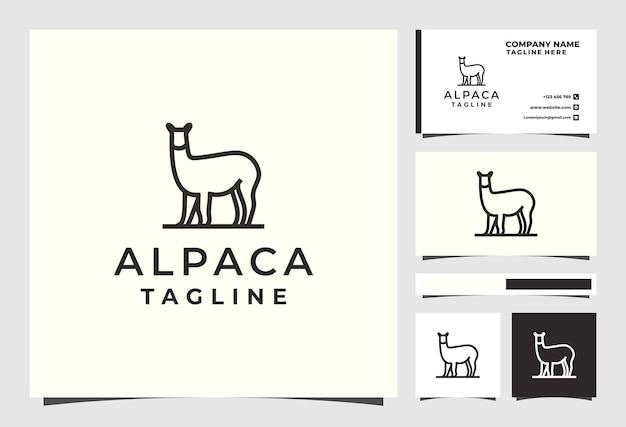 Дизайн логотипа линии альпаки премиум векторы