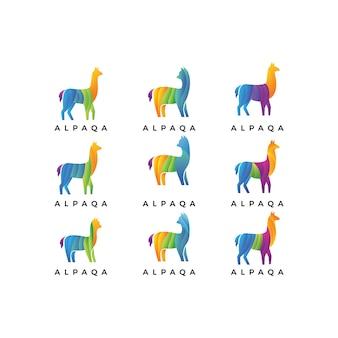 Шаблон дизайна логотипа альпака