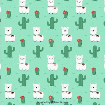 Alpaca pattern in flat style