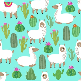 Alpaca seamless vector pattern. cute llama baby repetitive pattern