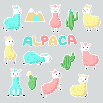 Alpaca stickers hand drawn illustration