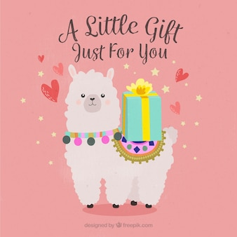 Alpaca with gift