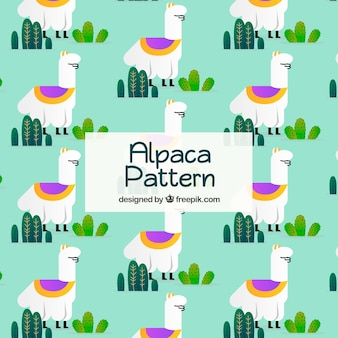 Alpacas pattern with cactus