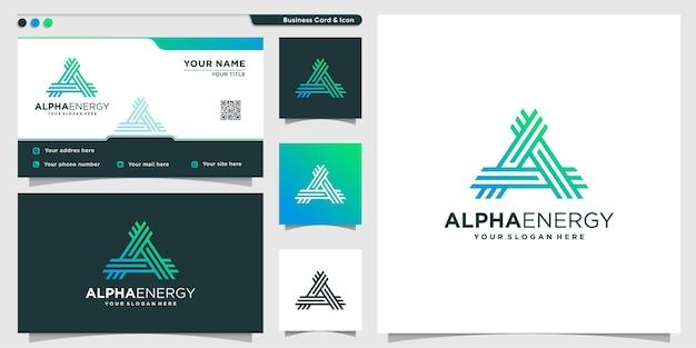 Логотип alpha в стиле арт-линии energy и шаблон дизайна визитной карточки premium векторы