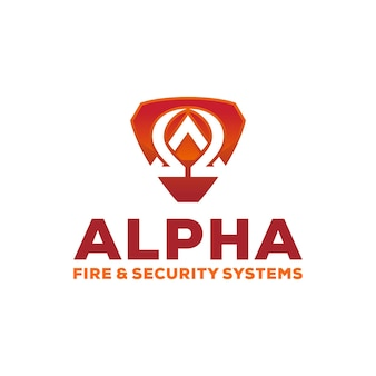 Alpha security with shield logo design template