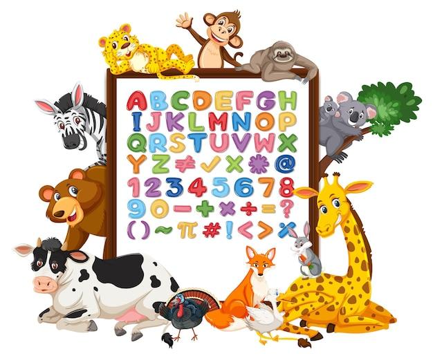 야생 동물과 함께 보드에 알파벳 az 및 수학 기호
