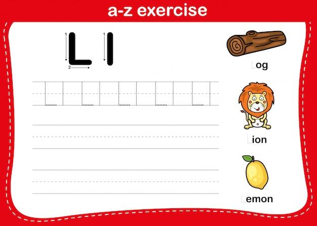 Алфавит аз упражнения с лексикой иллюстрации, вектор
