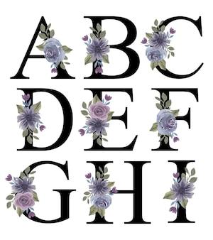 Алфавит az первоначальный дизайн с акварельным фиолетовым орнаментом букета цветов для украшения приглашения