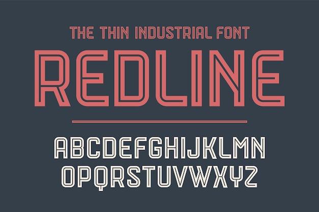 アルファベットとフォントの赤い線。ボールド、レギュラー、ミディアムの大文字。創造的なデザイン、広告、活版印刷のための強力なトレンディな産業用インラインフォント。