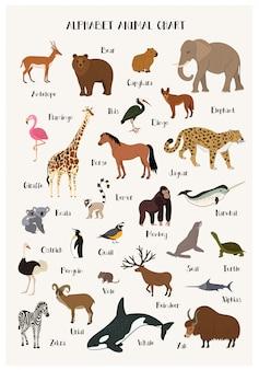 아이들을위한 알파벳 동물 차트 세트
