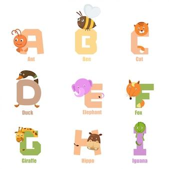 Alphabet animal a-i