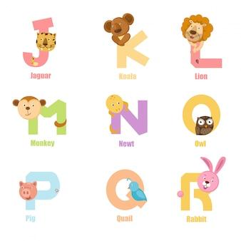 Alphabet animal j-r