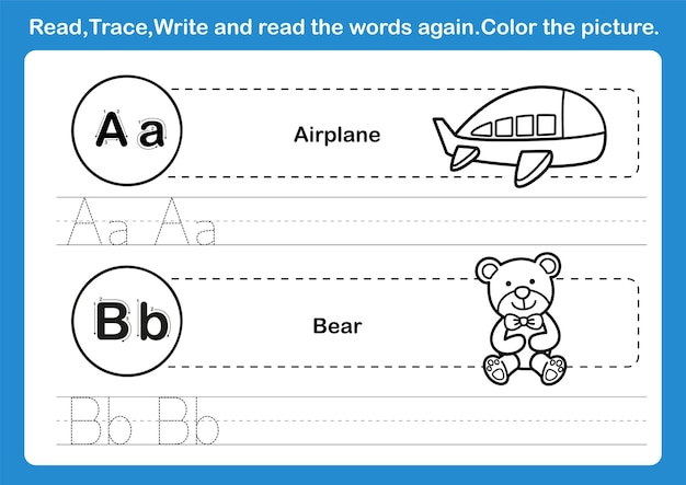 Alphabet a-b exercise with cartoon vocabulary for coloring book