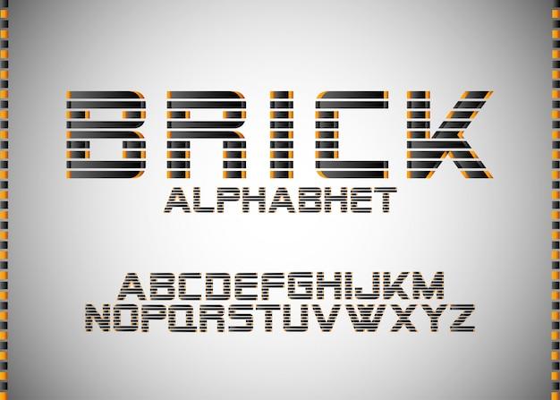 Alphabet  brick, modern font typography