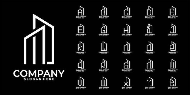 알파벳 건물 문자 A ~ Z 로고 디자인 컬렉션 프리미엄 벡터