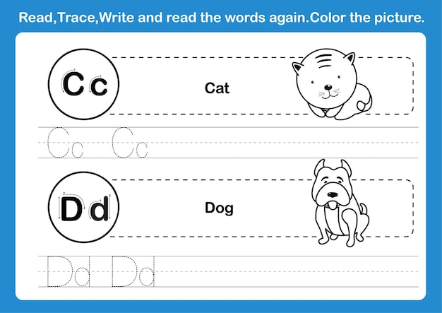 Alphabet c-d exercise with cartoon vocabulary for coloring book illustration