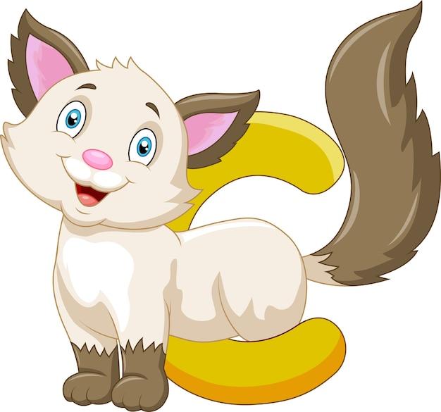 고양이 만화와 알파벳 c