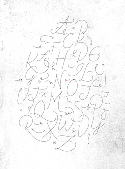 Alphabet in calligraphic pen line style drawing with black color on dirty paper background