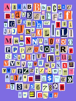 Alphabet collage abc alphabetical font letter cutout of newspaper magazine and colorful alphabetic handmade cutting text newsprint illustration alphabetically typeset isolated on background