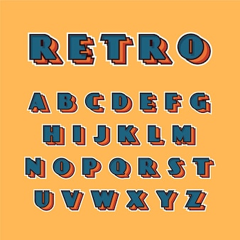 Raccolta di alfabeto in 3d retrò