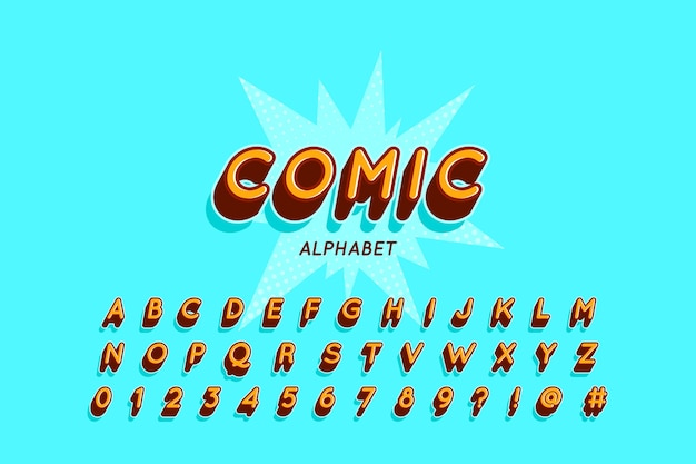Alphabet collection from a to z in 3d comic theme