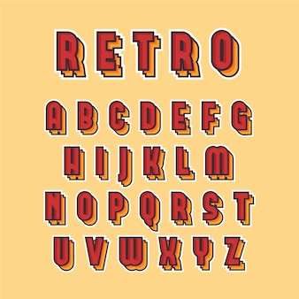 Collezione di alfabeto dalla a alla z in 3d design retrò