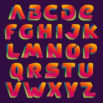 Набор красочных букв алфавита. стиль шрифта