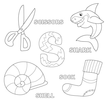 アウトラインクリップアートとアルファベットの塗り絵ページ。文字s.ベクトルサメ、はさみ、靴下、シェル