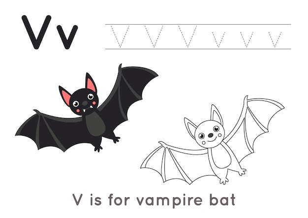 Alphabet coloring page for kids. basic writing activity. tracing abc letters worksheet. letter v with cute black vampire bat.
